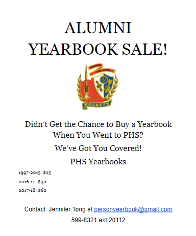 PHS Alumni Yearbook Sales