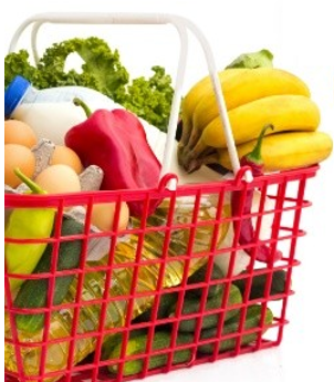 red plastic basket with fruits and vegetables