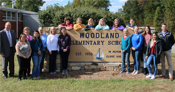 Principal of the Year, Joseph Warren, and staff of Woodland Elementary School